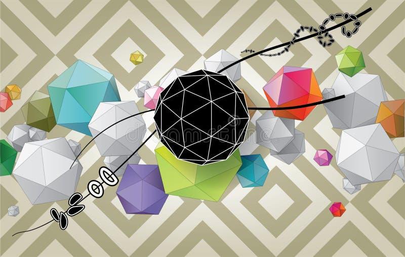 Abstrakt sammansättning för färg från geometriska former vektor illustrationer