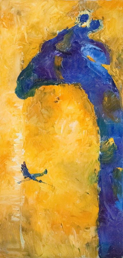 Abstrakt sammansättning för olje- målning för handattraktion, bakgrund white för fläck för målarfärg för maskering för begrepp fö stock illustrationer