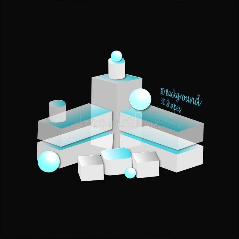 Abstrakt sammansättning i vitt, blått och svart abstrakt sammansättning 3d Bakgrund geometri royaltyfri illustrationer