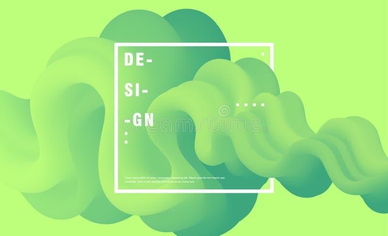 Abstrakt sammansättning med färgrikt, grönt, vågform, 3d, vätskeform royaltyfri illustrationer