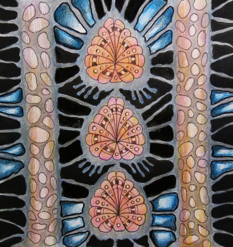Abstrakt sammansättning tecknad hand royaltyfri foto