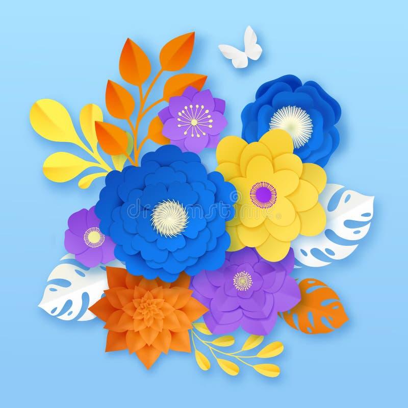 Abstrakt sammansättningsmall för pappers- blommor royaltyfri illustrationer