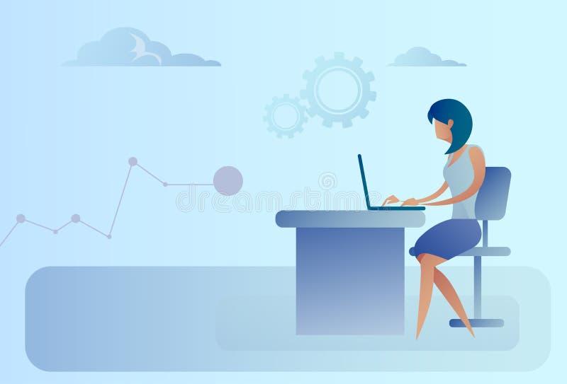 Abstrakt sammanträde för affärskvinna på datoren för bärbar dator för kontorsskrivbord den funktionsdugliga stock illustrationer