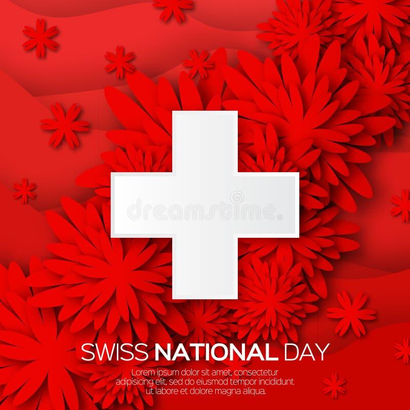 Abstrakt schweizisk nationell dag Schweiz självständighetsdagen stock illustrationer