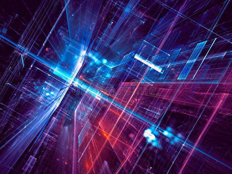Abstrakt science eller framtida teknologibakgrund - dator-frambragd illustration 3d vektor illustrationer