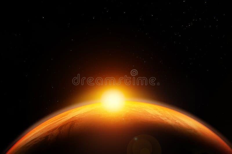 Abstrakt science fictionbakgrund, flyg- sikt av soluppgång/solnedgången över jordplaneten stock illustrationer