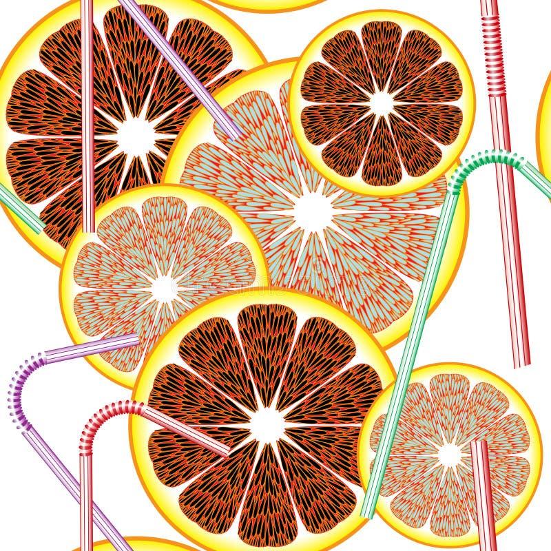 Abstrakt seamless modellcitrusfrukt stock illustrationer