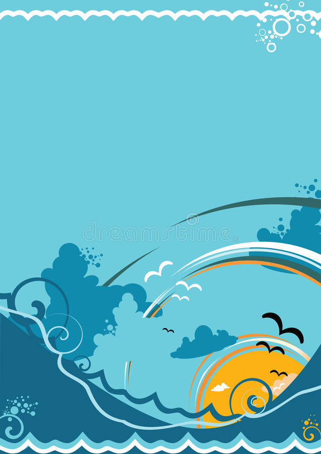 Abstrakt seascape med waven och havet royaltyfri foto