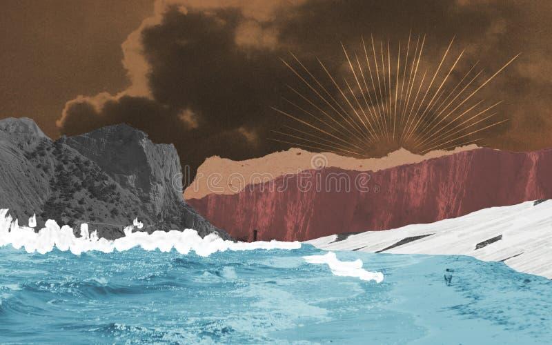 Abstrakt seascapeillustration som göras av tappningpapper royaltyfri illustrationer