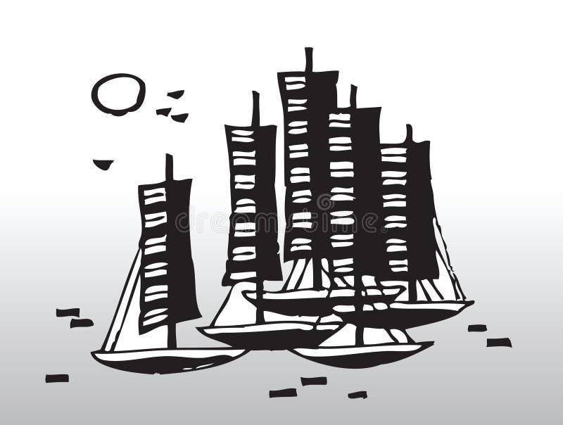 Abstrakt segelbåtar royaltyfri illustrationer