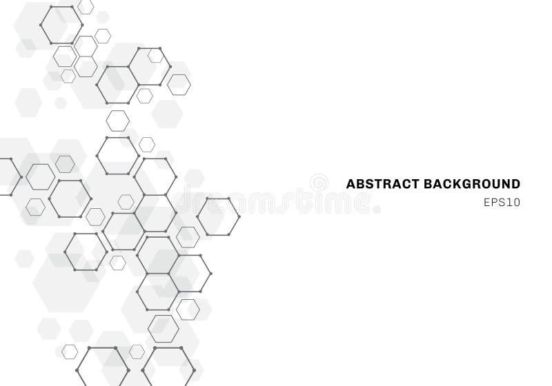 Abstrakt sexhörnig molekylstruktur av neuronssystemet Bakgrund för Digital teknologi Framtida geometrisk mall stock illustrationer