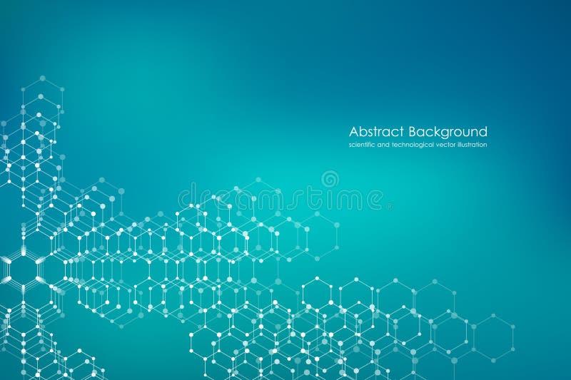 Abstrakt sexhörnig vektor för bakgrund för molekyl genetisk och kemisk för sammansättningar, vetenskaplig eller teknologisk begre royaltyfri illustrationer