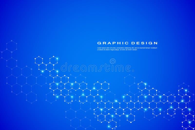 Abstrakt sexhörnig vektor för bakgrund för molekyl genetisk och kemisk för sammansättningar, vetenskaplig eller teknologisk begre vektor illustrationer
