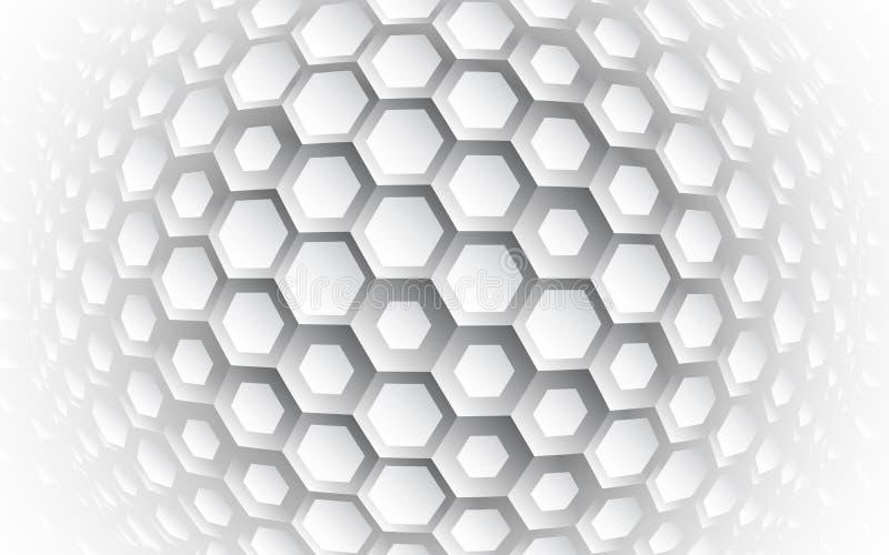 Abstrakt sexhörnig vektorbakgrund för sfär 3d royaltyfri illustrationer