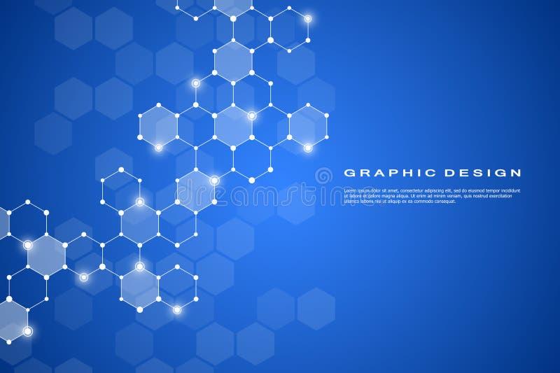 Abstrakt sexhörnigt system för för bakgrund för molekyl, genetiska och kemiska sammansättningar Geometriska diagram och förbindel stock illustrationer
