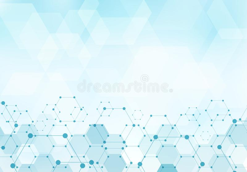 Abstrakt sexhörningsmodellmolekyl på digitalt begrepp för blå bakgrundsteknologi med kopieringsutrymme Geometriska beståndsdelar  vektor illustrationer