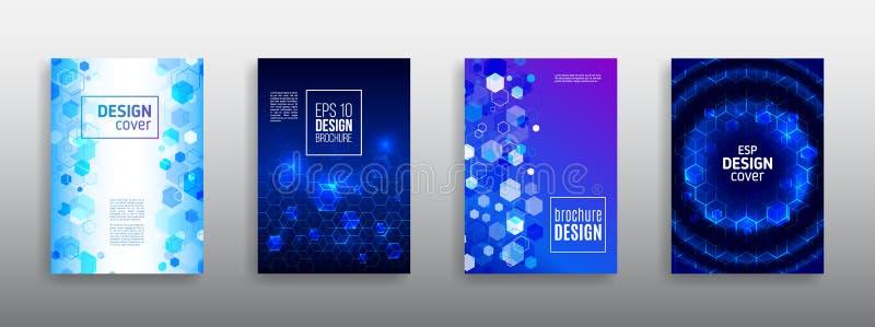 Abstrakt sexhörningsreklambladdesign Vektorårsrapportbroschyr Högt vektor illustrationer
