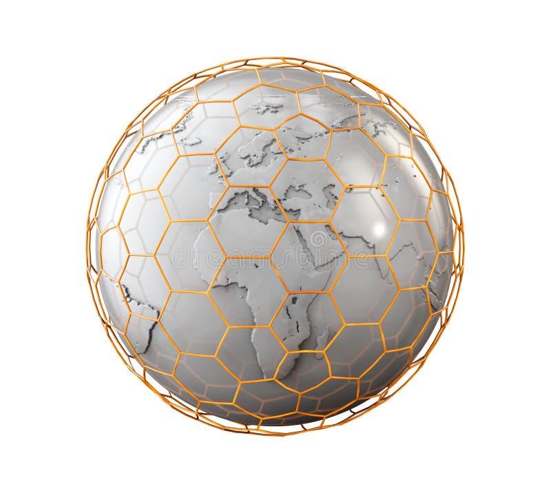 Abstrakt sfär med nano netto logo isolerat på vit, illustration 3d vektor illustrationer