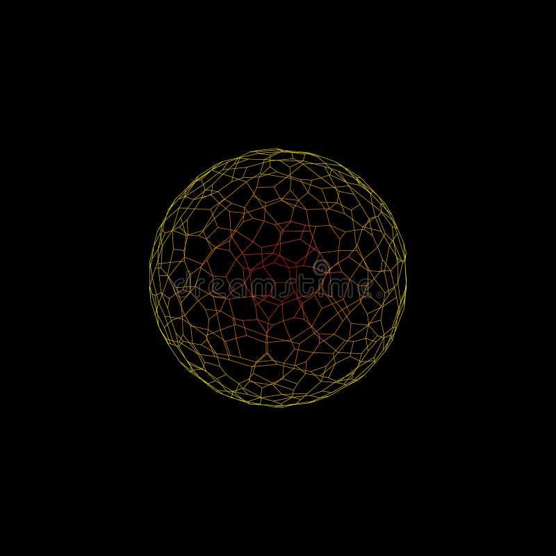 Abstrakt sfärwireframe Isolerat på svart bakgrund vektor stock illustrationer