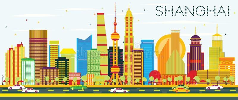 Abstrakt Shanghai horisont med färgbyggnader och blå himmel vektor illustrationer