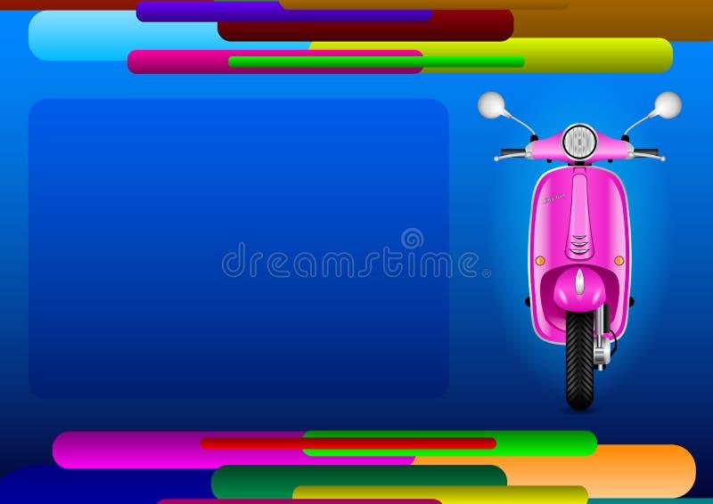 Abstrakt sida för orientering och rosa elektrisk sparkcykel stock illustrationer