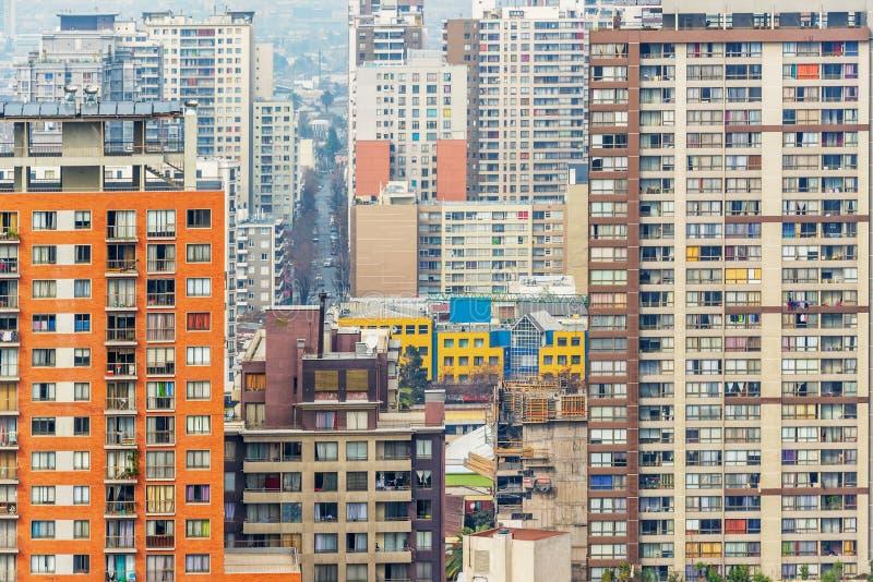 Abstrakt sikt av byggnader i staden av Santiago Chile arkivbild
