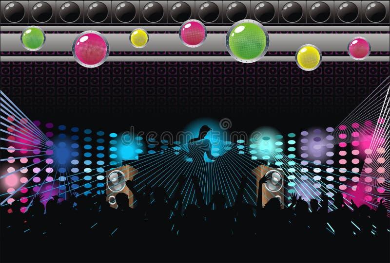 abstrakt silhouette för musik för konstbakgrundsdj stock illustrationer