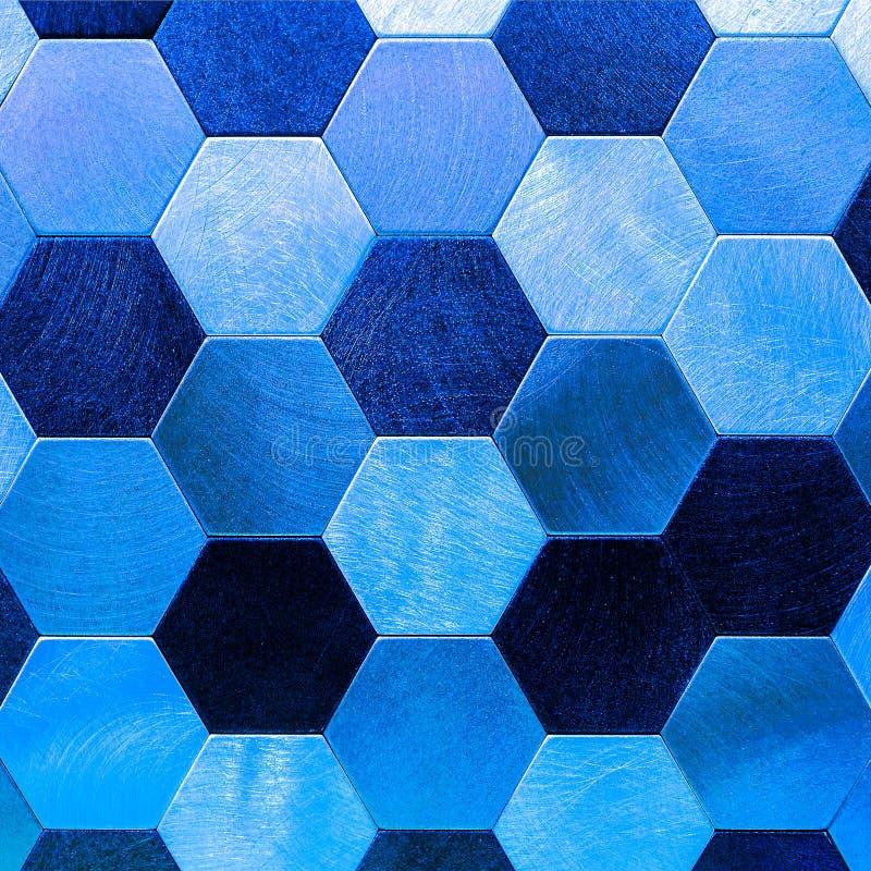 Abstrakt silver med blå metallisk bakgrund Geometriska sexhörningar royaltyfri bild