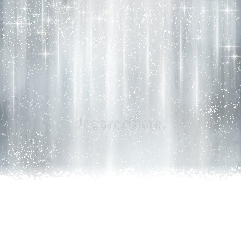 Abstrakt silverjul, vinterbakgrund vektor illustrationer