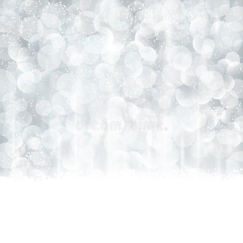 Abstrakt silverjul, vinterbakgrund med suddiga ljus royaltyfri illustrationer