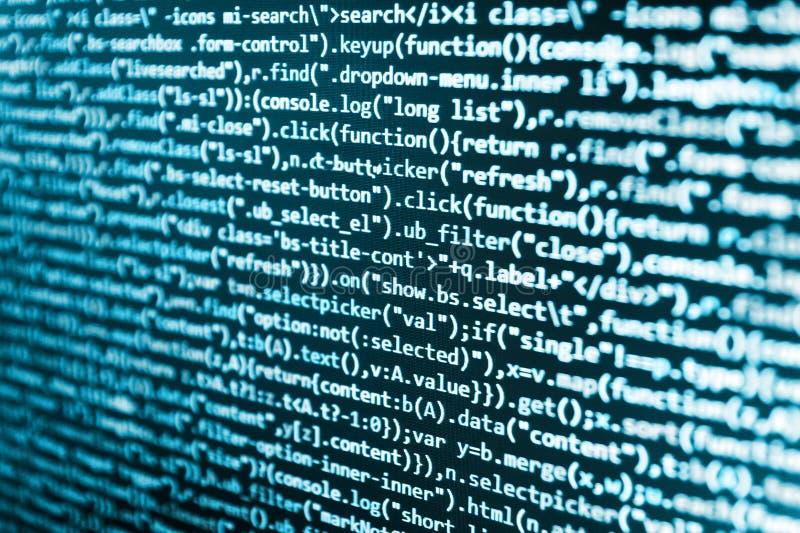 Abstrakt skärm av programvara Bildskärmfoto för skrivbords- PC WebsiteHTML-kod på fotoet för bärbar datorskärmCloseup royaltyfri bild