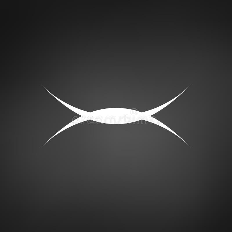 abstrakt skarpt kurvlogobegrepp Kan användas som U och en bokstavsvektor Vektorillustration som isoleras på svart bakgrund stock illustrationer