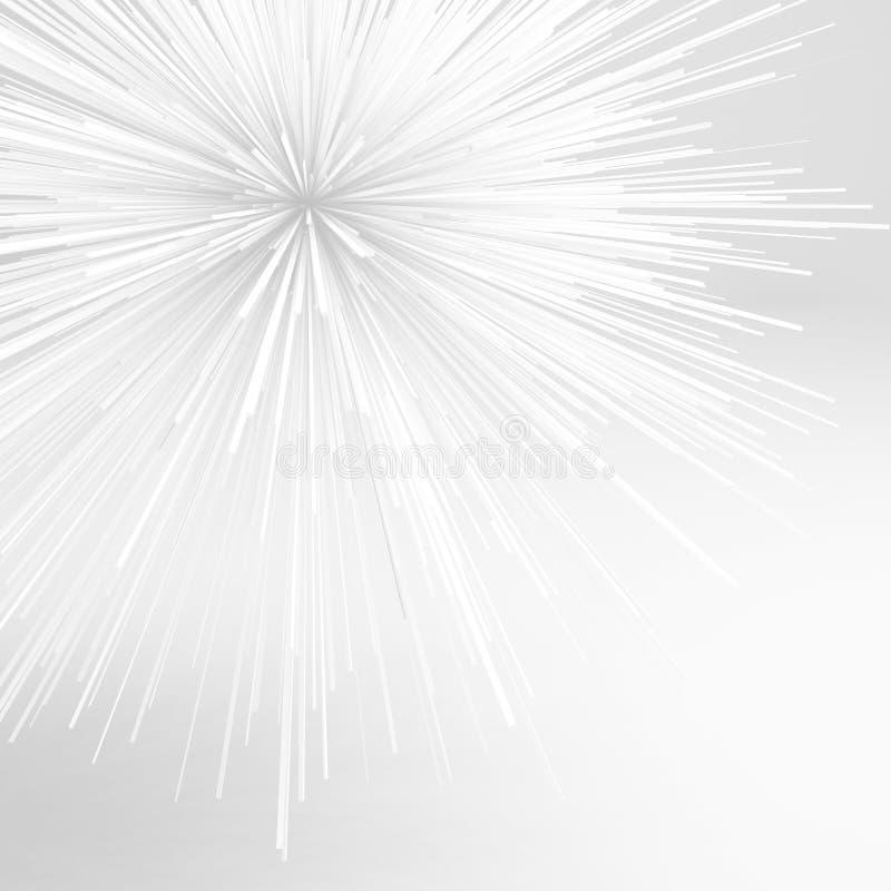 Abstrakt skarpt vitt objekt för explosion 3 D stock illustrationer