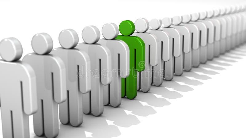 Abstrakt skillnad- och egenart-, unikhet- och ledarskapaffärsidé, diagram för folk 3D för singel grönt i rad av vit f stock illustrationer