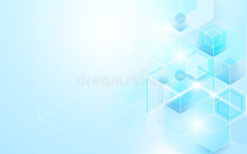 Abstrakt skinande blått geometriskt och sexhörningar Design för broschyr för vetenskaps- eller teknologibegreppsbakgrundsmall royaltyfri illustrationer