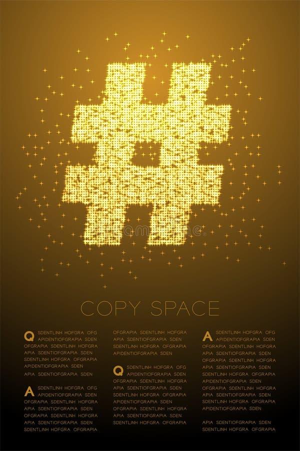 Abstrakt skinande Hashtag för Bokeh stjärnamodell tecken, socialt nätverk att förbinda illustrationen för färg för guld för begre royaltyfri illustrationer