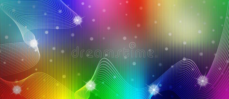 Abstrakt skinande mousserar, vågor och kurvor i regnbågefärgbakgrund royaltyfri illustrationer