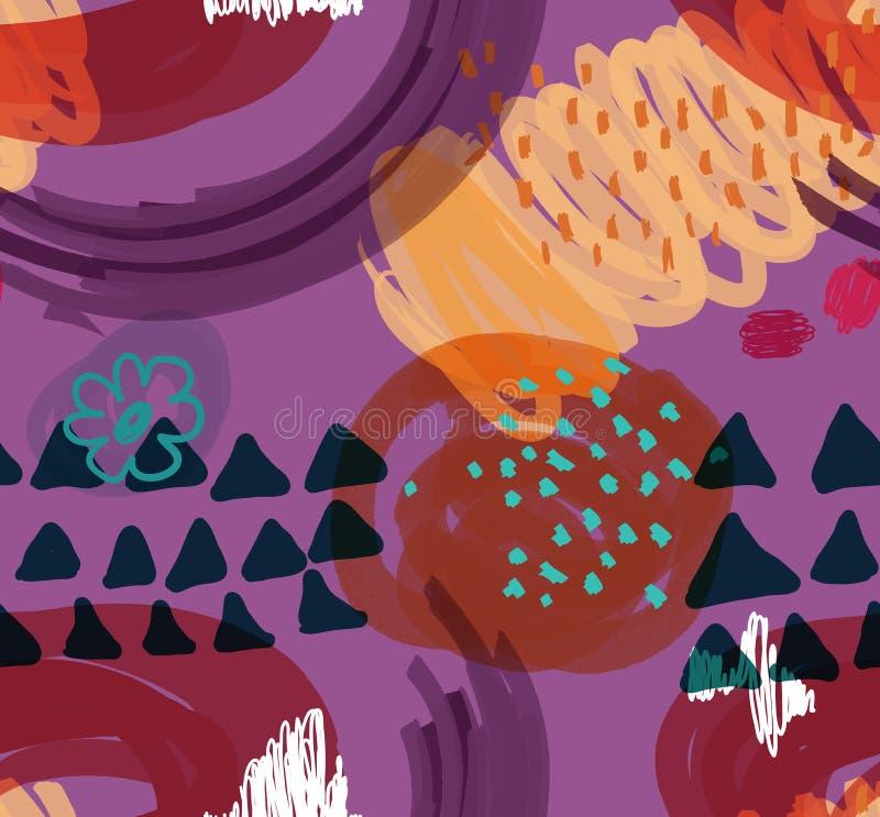Abstrakt skrobaniny z kwiatem i trójboki purpurowi royalty ilustracja