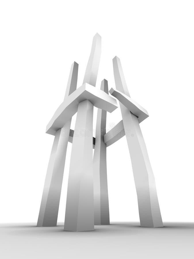 abstrakt skulpturtorn royaltyfri illustrationer