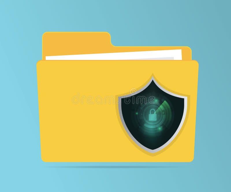 Abstrakt skydd för mapp för nätverkssäkerhetsbegrepp royaltyfri illustrationer