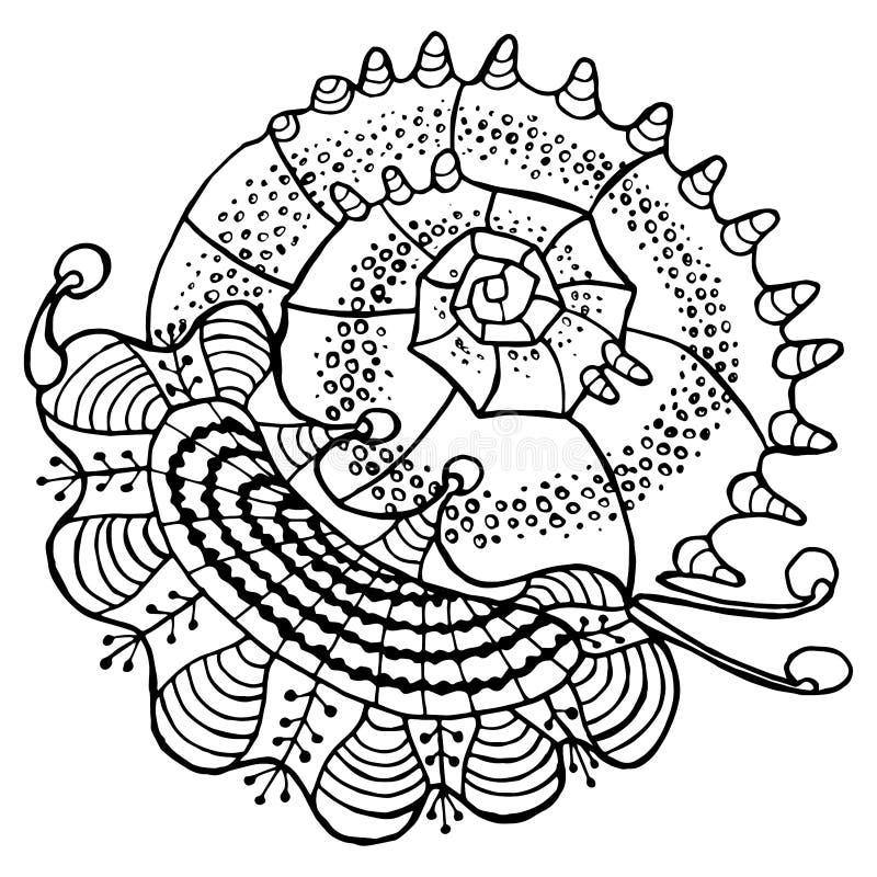 Abstrakt snäckskallinje etnisk dekorativ prydnad dragen översikt på för dekorbeståndsdel för vit bakgrund sakral geometrisk desig royaltyfri illustrationer