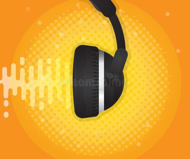 Abstrakt solid våg med headphone- och halvtonbakgrund royaltyfri illustrationer
