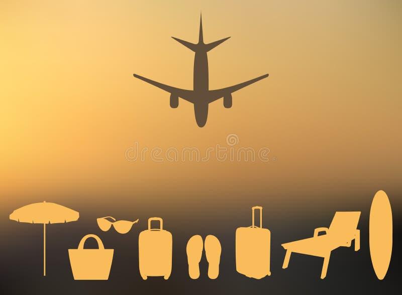 Abstrakt sommarbakgrund i en oskarp solnedgång och med konturer av nivån, resväska, slags solskydd, chaise, badskor, strandpåse, vektor illustrationer