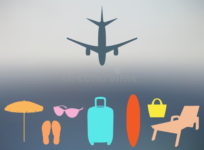 Abstrakt sommarbakgrund i en oskarp solnedgång och med konturer av nivån, resväska, slags solskydd, chaise, badskor, strandpåse, stock illustrationer