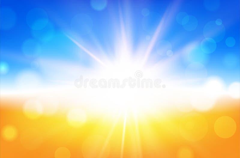 Abstrakt sommarbakgrund med solstrålar och suddig bokeh stock illustrationer