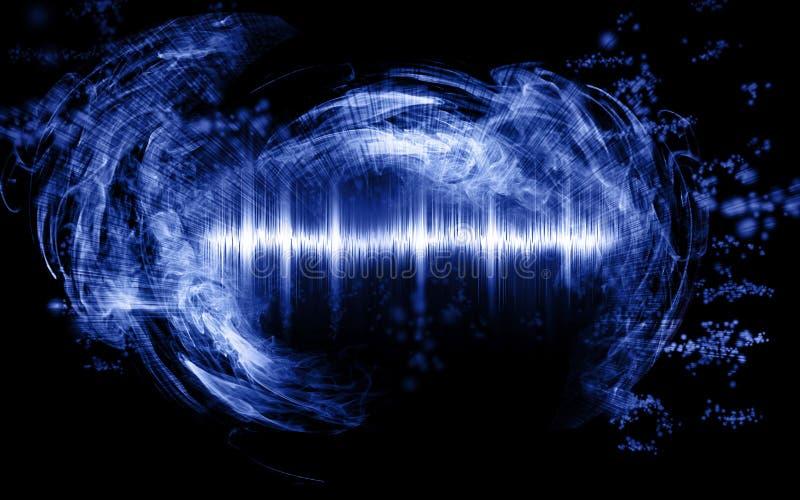 Abstrakt soundwave med rökformer arkivfoto