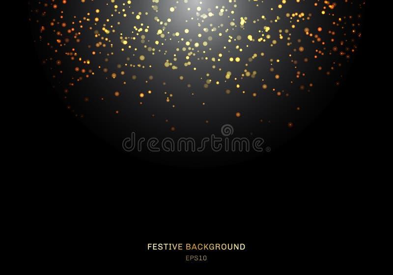 Abstrakt spada złota błyskotliwość zaświeca teksturę na czarnym tle z oświetleniem Magiczny złocisty pył i świecenie Świąteczni b royalty ilustracja
