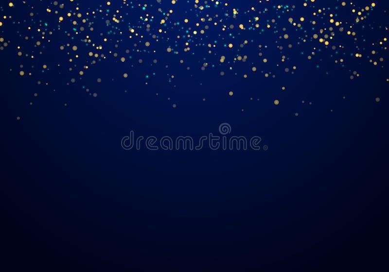 Abstrakt spada złota błyskotliwość zaświeca teksturę na zmroku - błękitny tło z oświetleniem royalty ilustracja