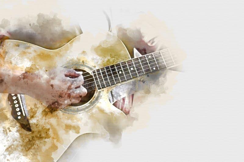 Abstrakt spela för vattenfärgmålning för akustisk gitarr bakgrund vektor illustrationer