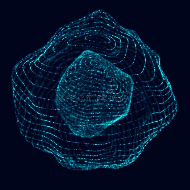 abstrakt sphere 3d Sf?r med vridninglinjer Gl?dande linjer som vrider logodesign Yttre rymdobjekt futuristic vektor illustrationer